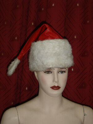 Original Genuine Real Leather Santa Clause Fur Lined Cap Hat Cosplay Roleplay