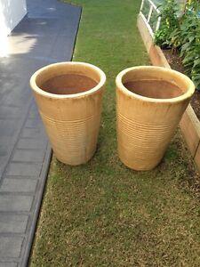 2 x Glazed Terracotta pots - yellow/gold Ingleburn Campbelltown Area Preview