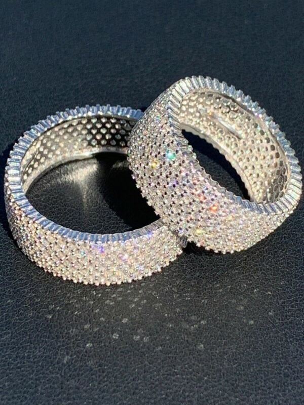 Solid 925 Sterling Silver Iced Eternity Band Wedding Bust Down Pinky Ring Men
