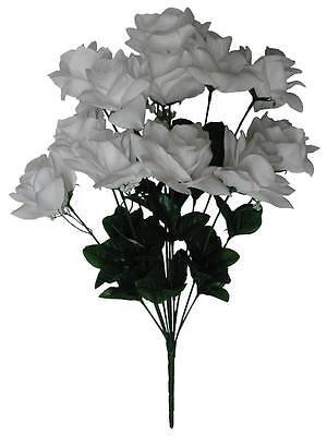 "Microfiber White Rose 20"" Bush Silk Flower Home Wedding Bridal Office Decor"