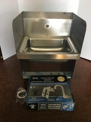 John Boos Wall Mount Hand Sink Splash Mount Faucet Knee Valves Pbhs-w-kvmb