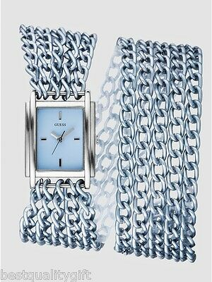 Multi Chain Wrap Watch - GUESS DUAL WRAP MULTI CHAIN LINK SILVER TONE ALUMINUM+BLUE DIAL WATCH U11648L3