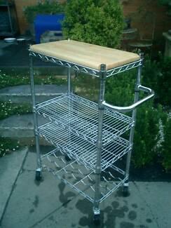 Metal Industrial Style Butcher Block / Mobile Kitchen Trolley