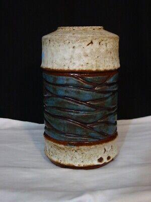 """MCM CARSTENS TONNISHOF  W. Germany Cylinder Vase 7882-25 Blue Beige Lava 10.5"""""""