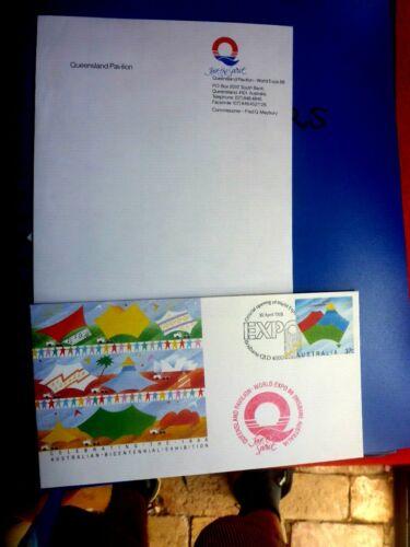 WORLD EXPO 88 QLD PAVILION CACHET ON BICENTENARY PSE & LETTERHEAD