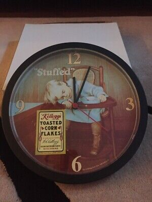"Vintage Kelloggs Toasted Corn Flakes ""Stuffed"" Wall Clock for sale"