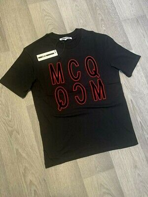 MCQ ALEXANDER MCQUEEN  Velvet Logo T Shirt black BNWT! HUGE SAVING LIMITED STOCK