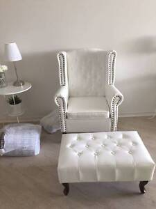 white Arm chair with foot stool Glenwood Blacktown Area Preview