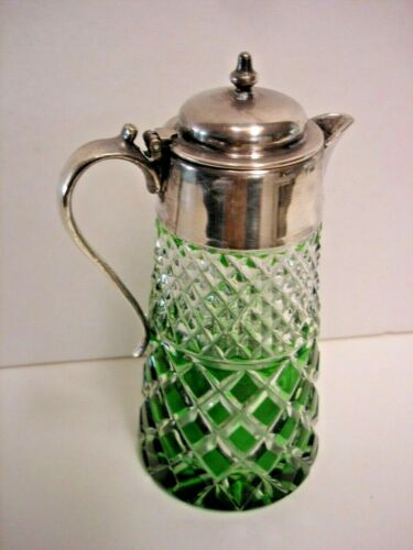 Vintage Green Cut-to-Clear Cut Glass Syrup, Silver Plate Lid  Antique #2 + 2 fre