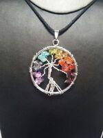 Crystal Gemstone Chip Pendant Tree Of Life Chakra Healing Reiki Stone - saifyjewellers - ebay.co.uk