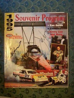 NHRA Winston Drag Racing Souvenir Program 1995 Signed by John Force & T Richards