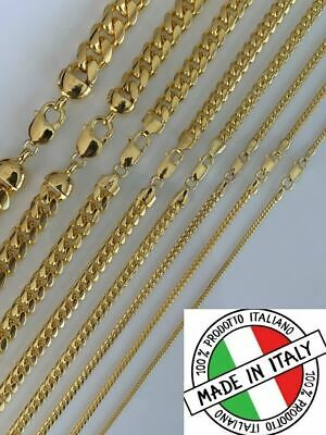 Mens 14k Gold Over Solid 925 Sterling Silver Miami Cuban Chain 2-12mm Necklace Chains Mens Gold Chain