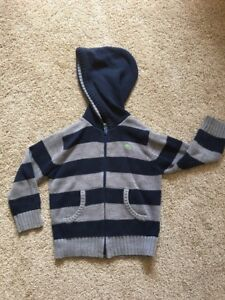 Old Navy Boys 5T Blue Grey Striped Knitted Sweater