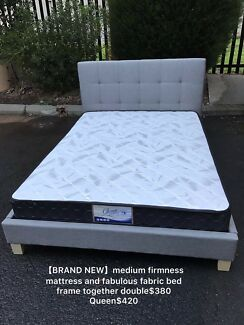 Brand new Medium firm mattress with fabric bed double$380 queen$420