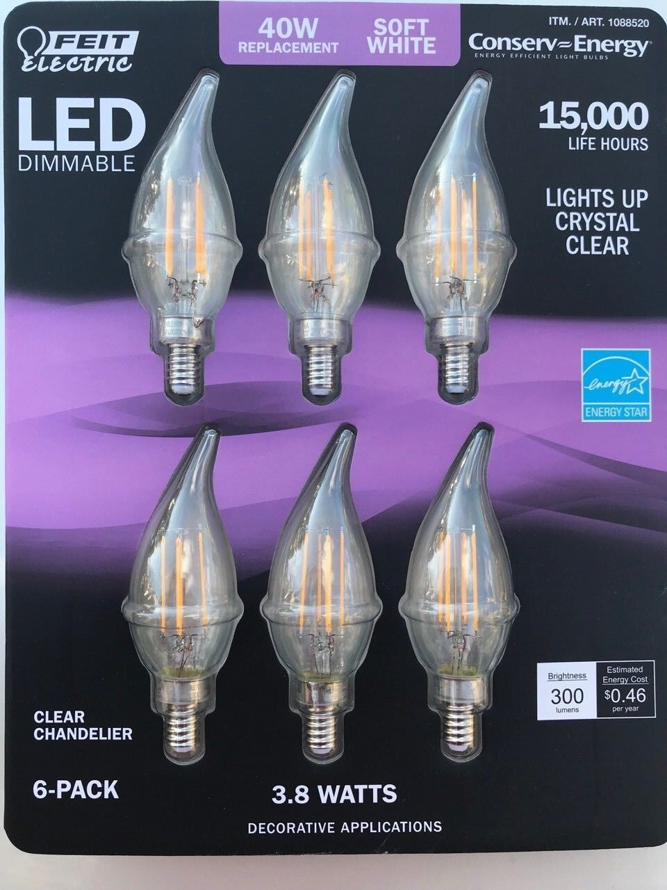 New 6 x Feit LED Chandelier Bulb Soft White Dimmable 40W Replacement w Just 3.8W