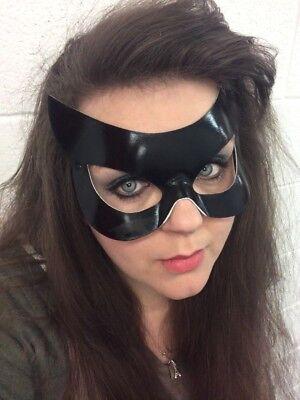 schwarz Lederoptik Venezianische Maskerade Maske Halloween MASKENBALL Herren Cat