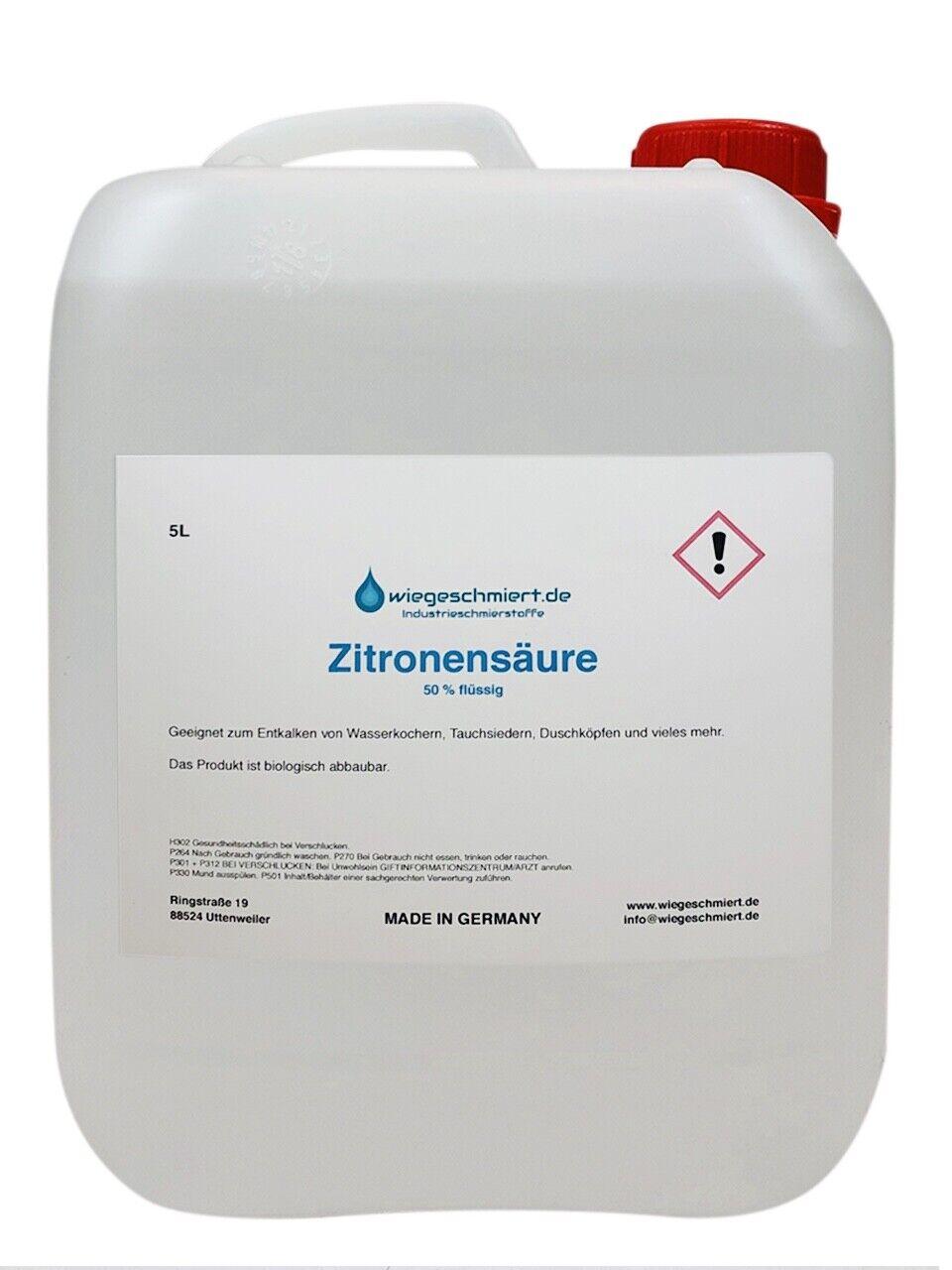 5 Liter Zitronensäure flüssig Entkalker Citronensäure Reiniger 5L Kanister