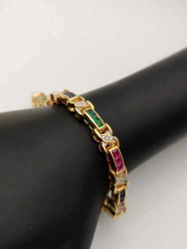 14K Yellow Gold Tennis Bracelet Diamond, Ruby,Sapphire and Emerald Over Silver