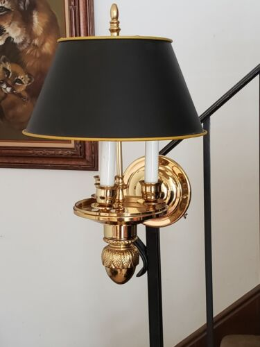 VINTAGE FRENCH BOUILLOTTE WALL SCONCE, WITH ORIGINAL BLACK SHADE