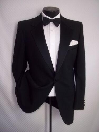 Lanvin Paris Neiman Marcus Solid Black 1 Button Wool Tuxedo Jacket, Coat 38 R