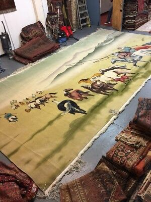 Antique Handmade Chinese Art Deco Wool Rug Carpet Shabby Chic,Size:19.9 By 10Ft