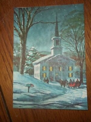 RARE Vintage Red Farm Studio Signed Richard Snowy Church With Sleigh Scene Card ()