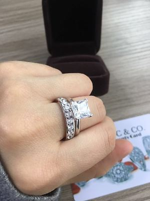 3.2CT PRINCESS CUT CHANNEL SET ENGAGEMENT RING WEDDING BAND SOLID 14K WHITE GOLD