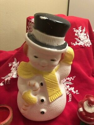 "Vintage Christmas Decor, Molded Light Up Snowman, Approx. 13"", 1950's"