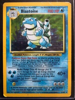 1999 Blastoise Base Set 2/102 Holographic Rare Card Used