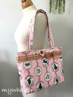 PiNK Ribbon & Stripes Alice in Wonderland QUILTED SHOULDER BAG Lace Bow NEW!