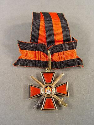 5094, St.Wladimir Orden, Kreuz 4.Klasse mit Schwertern, Gold und Emaille, 56, BA