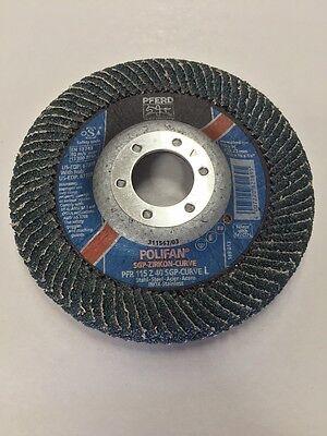GERMAN MADE PFERD 4-1/2 X 5/8 X 7/8 40 Grit Polifan Flap Sanding Disc T29