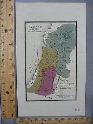 Rare Antique Orig VTG 1836 Leavitt Lord Co Canaan Bible Atlas Map Engraved Print