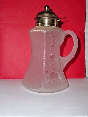 Frosted Glass Syrup Pitcher Molasses Can Jug Possibly Dithridge Silver Plate Top