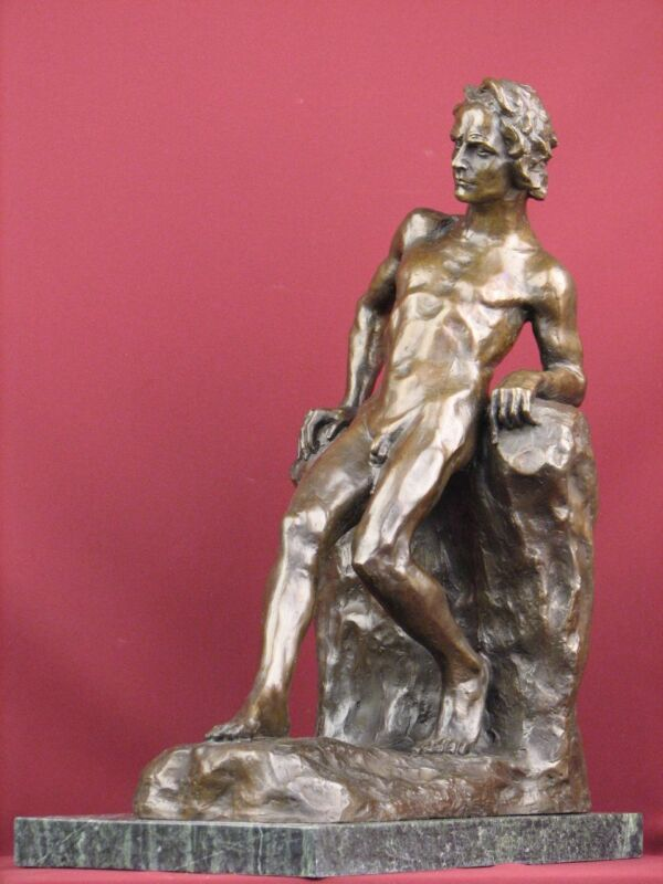 SIGNED BRONZE SCULPTURE NUDE MALE MODERN ART LIMITED EDITION STATUE ON MARBLE