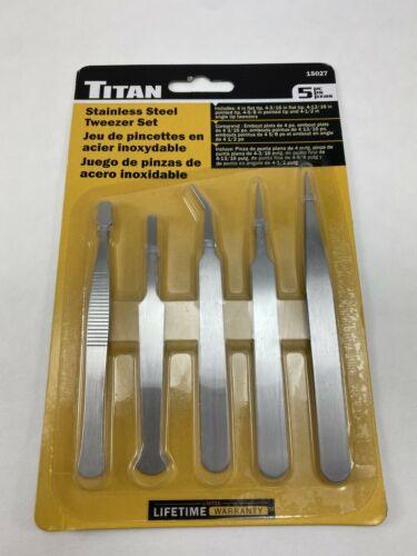 Titan 15027 5 Pc Stainless Steel Tweezer Set