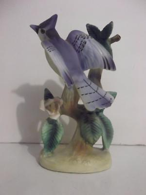 "Vintage Tilso Blue Jay Bird Porcelain Figurine 5"" Tall EUC Matte Finish"