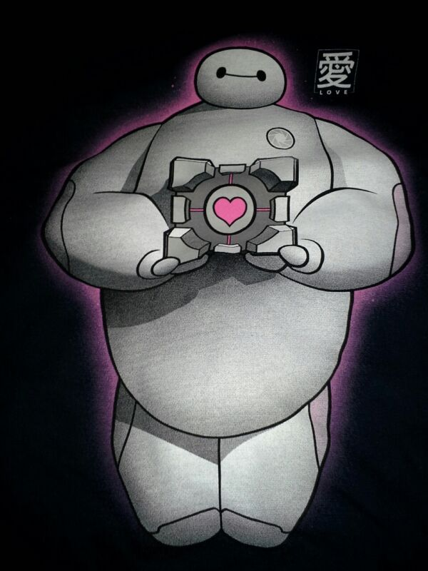 Big Hero 6 & Companion cube!Adorable shirtFree gift!And cake!Men's XL.