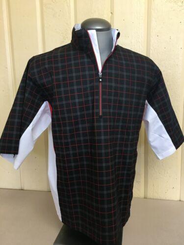 FootJoy Mens HydroLite Short Sleeve Rainshirt -Black Check Previous Season Style