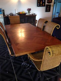 Craftsman Large Family Dining Table and Six Elegant Chairs Merrimac Gold Coast City Preview