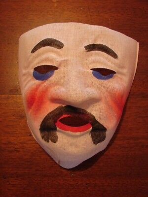 Antique Original Vintage 1930's Halloween Cloth Gauze Mesh Mask CHINA MAN