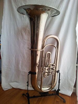 Absolute Rarität B+F/Amati Es-Kaiser-Tuba m.3 Zylinder-Dreh-Ventilen,Vernickelt , gebraucht gebraucht kaufen  Katharinenhof