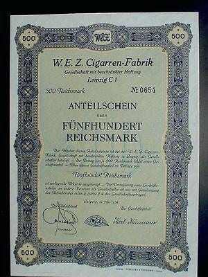 W.E.Z. Zigarrenfabrik Leipzig Anteilschein 500 Reichsmark 1934 unentwertet