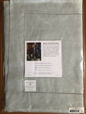 "Sferra Luxury Linen Festival Table Placemats Sea Foam 14""x20"" (set of 4)"