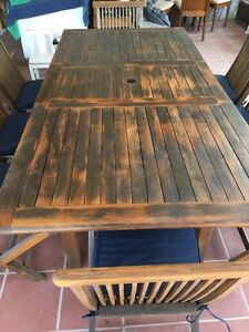 8 seater outdoor table and chairs- teakwood Tempe Marrickville Area Preview