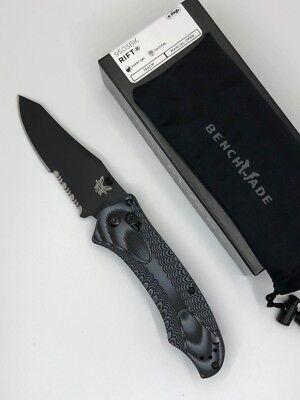 Black Tanto Comboedge Blade (*New BENCHMADE 950SBK Osborne RIFT Partial Serrated Combo Edge Black Blade Knife )