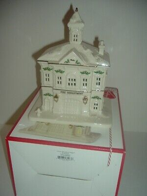 Lenox Christmas Village Light Up Fire House Station in box