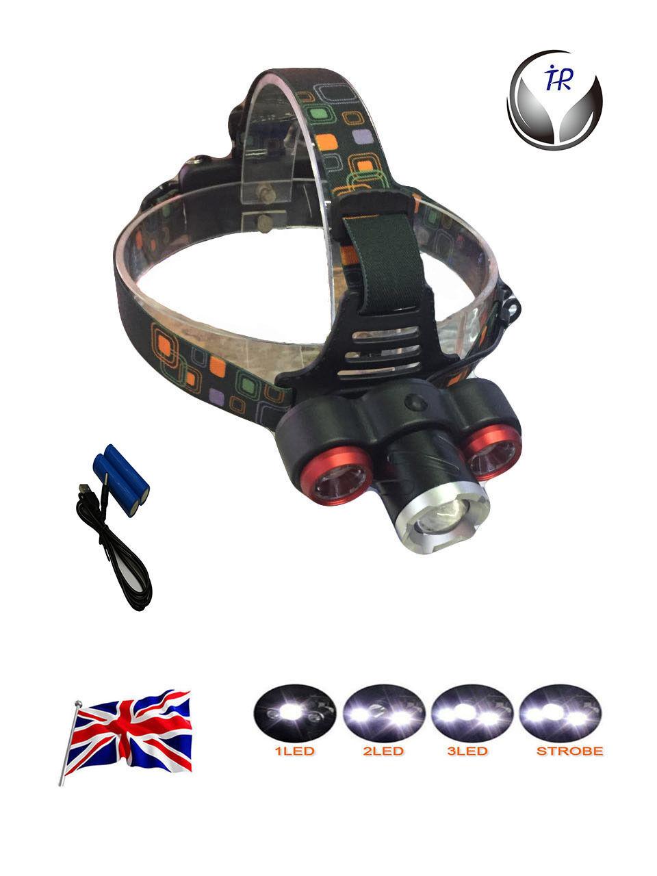New led headlight torch 5000 lm 3x cree xm-l T6 headlamp head light lampuk stock