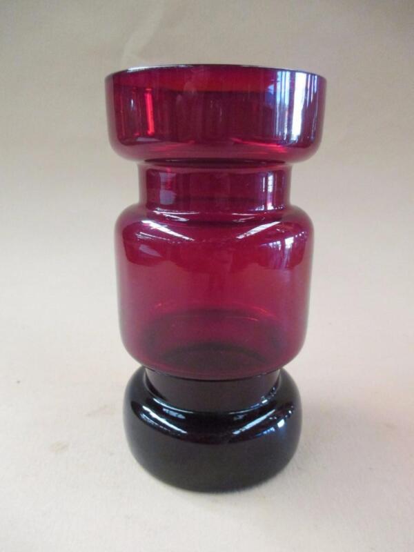 Vase, glass, mid-century, Riihimäki, deep ruby, original