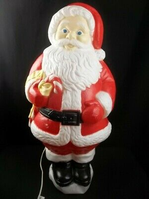 "Santa Blow Mold Vintage Grand Venture Holding Candy Cane 30"" Blue Eyes"